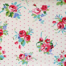 Rose - Chintz - Chintz pink flowers and dots on white fabric