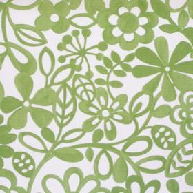 Collette - Apple - Simple apple green floral pattern on white fabric