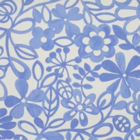 Collette - Sky - Simple sky blue floral pattern on white fabric
