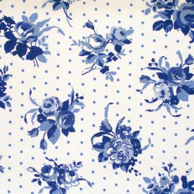 Rose - Sapphire - Sapphire blue flowers and dots on white fabric