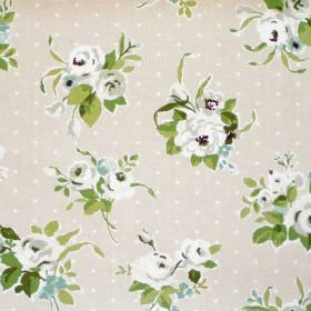 Rose - Linen - White flowers and dots on linen coloured fabric