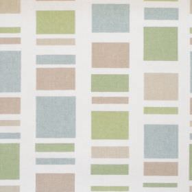 Cubic - Linen - Linen coloured rectangle-stripes on white fabric