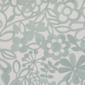 Collette - Smoke - Simple smoke green/grey floral pattern on white fabric