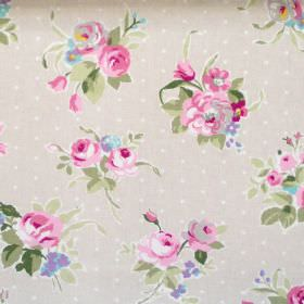 Rose - Rose - Rose pink flowers and dots on faded sandy fabric