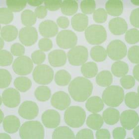 Fizz - Mint - White fabric with a green circle pattern