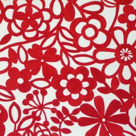 Collette - Ruby - Simple ruby red floral pattern on white fabric