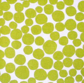 Fizz - Lime - White fabric with a green circle pattern