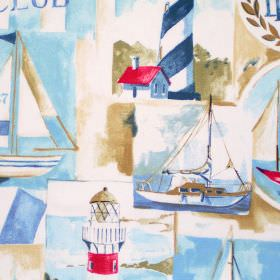 Yacht Club - Cobalt - Cobalt blue images of boats, yachts and lighthouses print