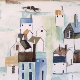 St Ives - Duck Egg - Vista of maritime town in duck egg blue on white fabric