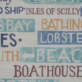 Padstow - Duck Egg - Street signs in duck egg blue on white fabric