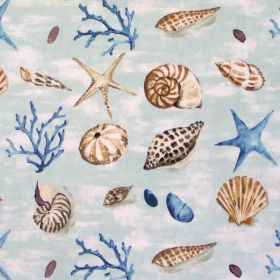 Seashells - Duck Egg - Blue fabric with brown beige and blue seashells