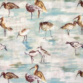 Sandpiper - Duck Egg - Image of sandpipers in duck egg blue on white fabric