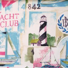 Yacht Club - Vintage - Vintage pink and blue images of boats, yachts and lighthouses print
