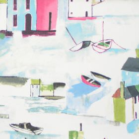 St Ives - Vintage - Vista of maritime town in vintage green on white fabric