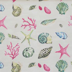 Seashells - Vintage - Grey fabric with green pink and yellow seashells