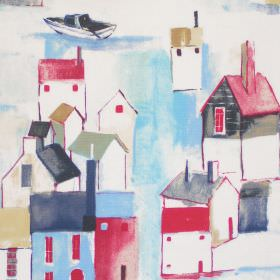 St Ives - Cobalt - Vista of maritime town in cobalt blue on white fabric