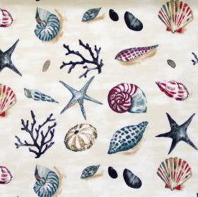 Seashells - Seaspray - Cream fabric with pink blue and beige sea shells