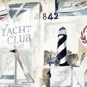 Yacht Club - Driftwood - Driftwood brown images of boats, yachts and lighthouses print
