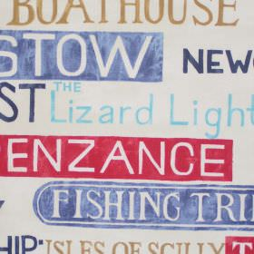 Padstow - Cobalt - Street signs in cobalt blue on white fabric