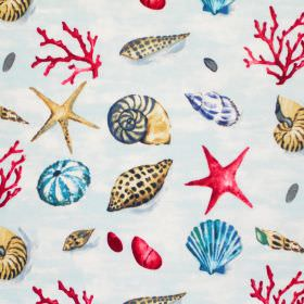 Seashells - Cobalt - Blue fabric with red blue and brown seashells
