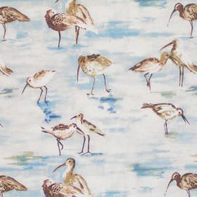 Sandpiper - Cobalt - Image of sandpipers in cobalt blue on white fabric