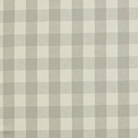 Grasmere - Stone - Simple pale grey checks on an even paler grey coloured linen and cotton blend fabric background