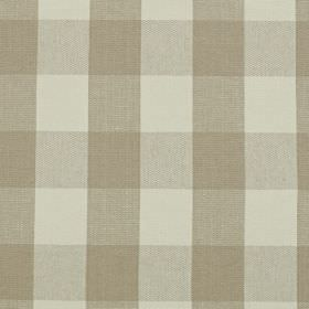 Keswick - Sandstone - Pale shades of grey covering linen and cotton blend fabric in a large, simple checked design