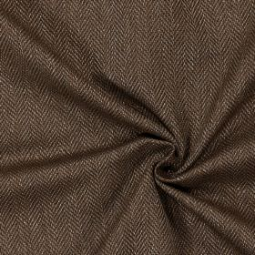 Swaledale - Havana - Plain havana brown fabric with a herringbone pattern
