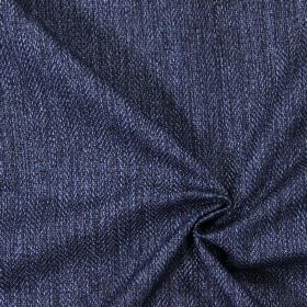 Swaledale - Navy - Plain navy blue fabric with a herringbone pattern