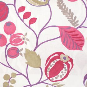 Zest - Berry - Modern simple berry red floral design on white fabric