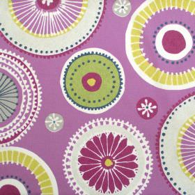 Charnwood - Damson - Purple fabric with patterned circle wheel print in yellow and green