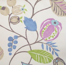 Zest - Hyacinth - Modern simple hyacinth purple floral design on white fabric