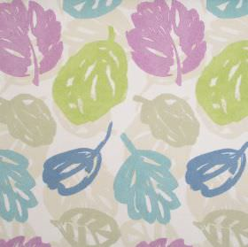 Rowan - Hyacinth - Cream fabric with blue and lilac autumn leaf print