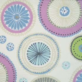 Charnwood - Hyacinth - Cream fabric with patterned circle wheel print in purple and blue