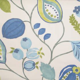 Zest - Bluebell - Modern simple bluebell blue floral design on white fabric