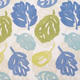 Rowan - Bluebell - Cream fabric with blue and green autumn leaf print