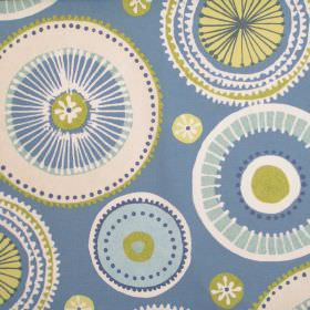 Charnwood - Bluebell - Blue fabric with patterned circle wheel print in green and white