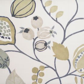 Zest - Linen - Modern simple linen coloured floral design on white fabric
