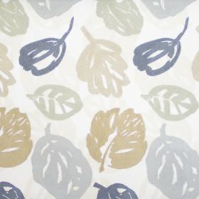 Rowan - Linen - Cream fabric with neutral autumn leaf print