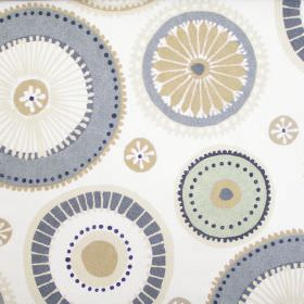 Charnwood - Linen - Cream fabric with patterned circle wheel print in beige and grey