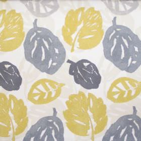 Rowan - Mimosa - Cream fabric with yellow and grey autumn leaf print