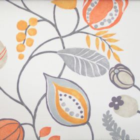 Zest - Juice - Modern simple juice orange floral design on white fabric