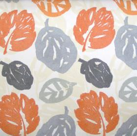 Rowan - Juice - Cream fabric with orange and grey autumn leaf print