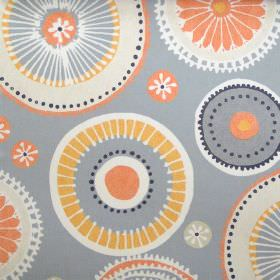 Charnwood - Juice - Grey fabric with patterned circle wheel print in orange and neutral