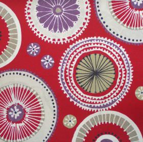 Charnwood - Berry - Red fabric with patterned circle wheel print in purple and beige
