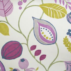Zest - Damson - Modern simple damson purple floral design on white fabric