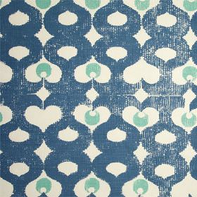 Madaket - Chinese Green - Fabric made from white 100% linen, printed withnavy curving, wavy lines and light marine blue coloured dots