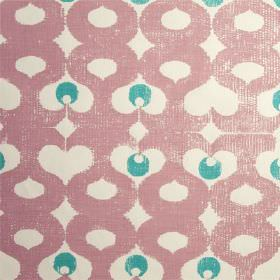 Madaket - Aubusson Violet - 100% linen fabric in white, printed with dots and curving, wavy lines in turquoise and a light, dusky shade of p