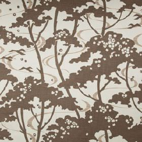 Mandalay - Khol - Simple dark brown trees printed with thin light grey ribbons on 100% linen fabric in an even paler shade of grey