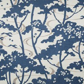 Mandalay - Indigo - 100% linen fabric printed with thin light grey ribbons and simple navy blue trees on a very pale grey-white background